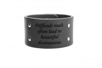 4 cm juoda apyrankė - Difficult roads often lead to beautiful destinations