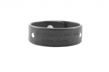 2 cm juoda apyrankė - Happiness is only real when shared